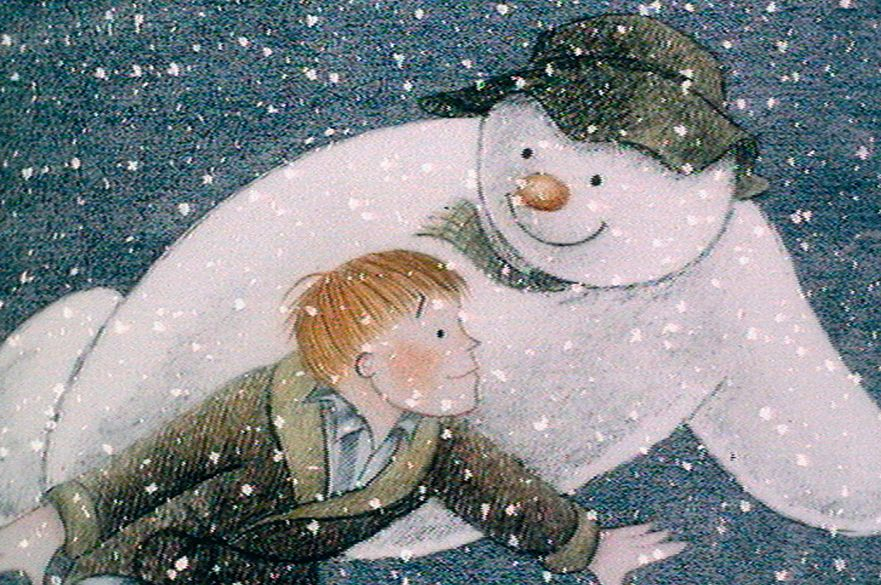 Illustration of the snowman flying with a young boy in a snowy sky.