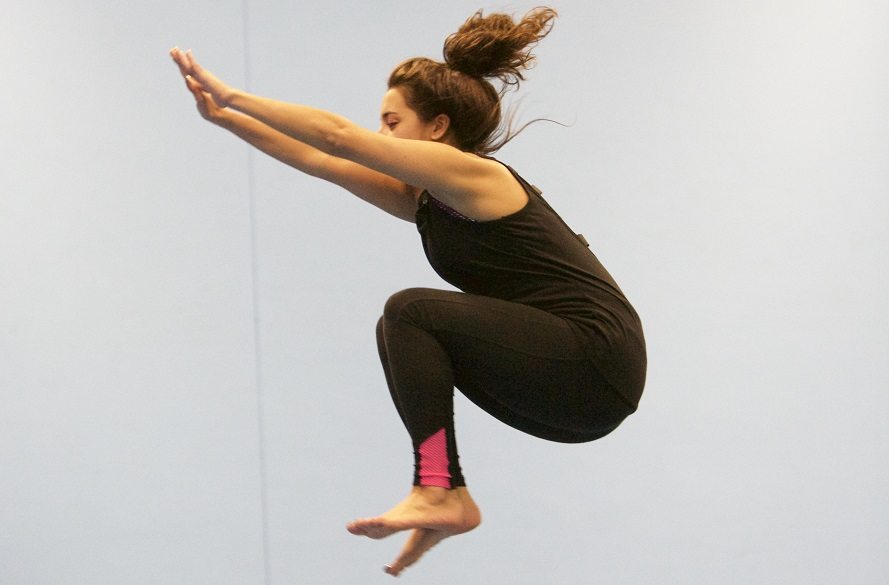Student trampolining