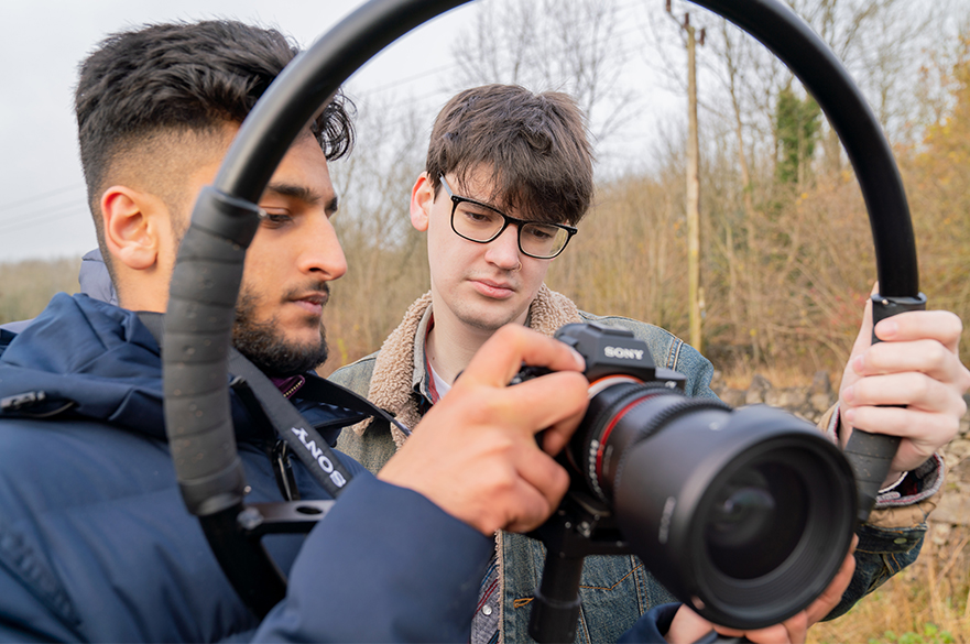 Students working on location