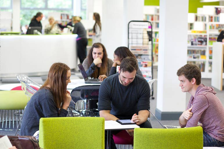 Students in Clifton Library