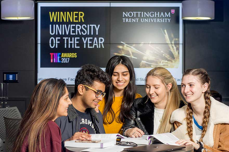 Students at Uni of the Year banner