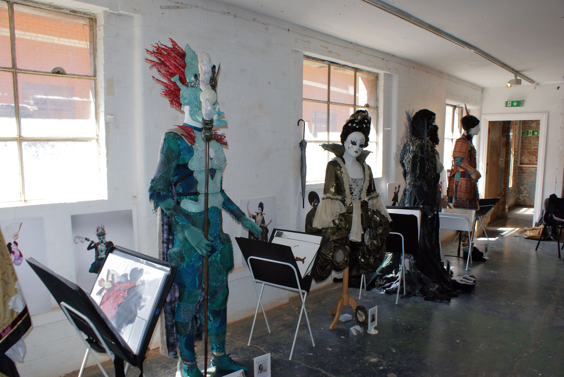(L-R) Works by Costume Design and Making students Sigrid Mularczyk, Cassie Strong Sophie Anagnostopoulou and Katie Taylor