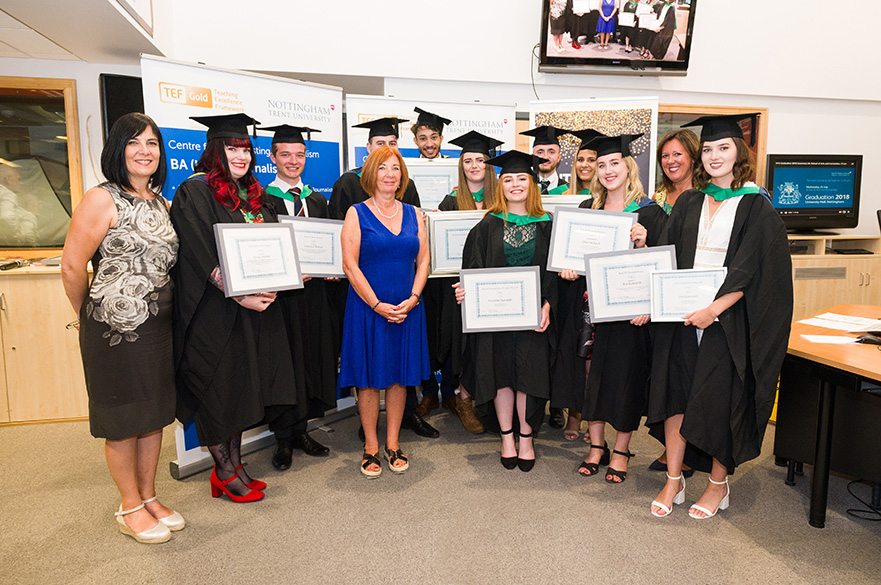 Group of all the CBJ award winners with lecturers Carole Fleming, Tracey Powell and Gail Mellors