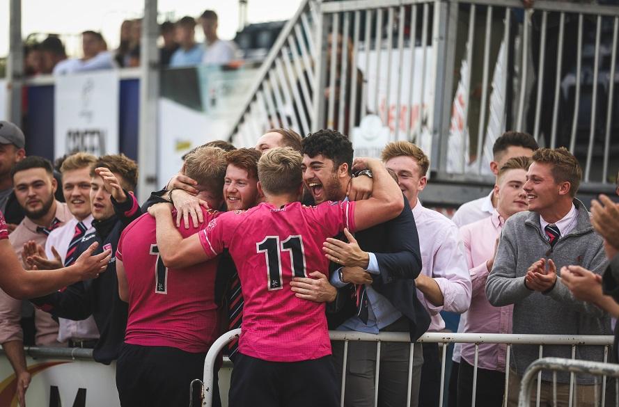 NTU Rugby fans celebrating