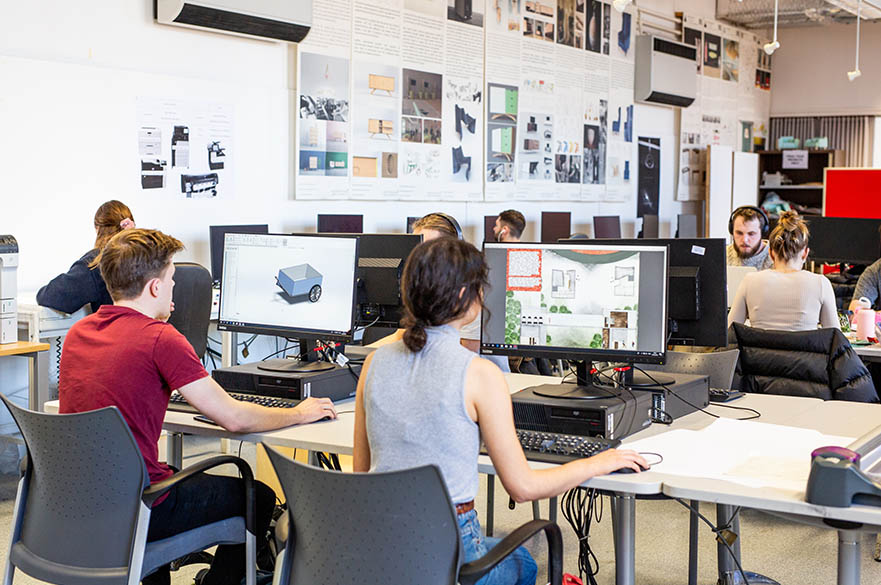 Students working on computers in the study centre, Maudslay building