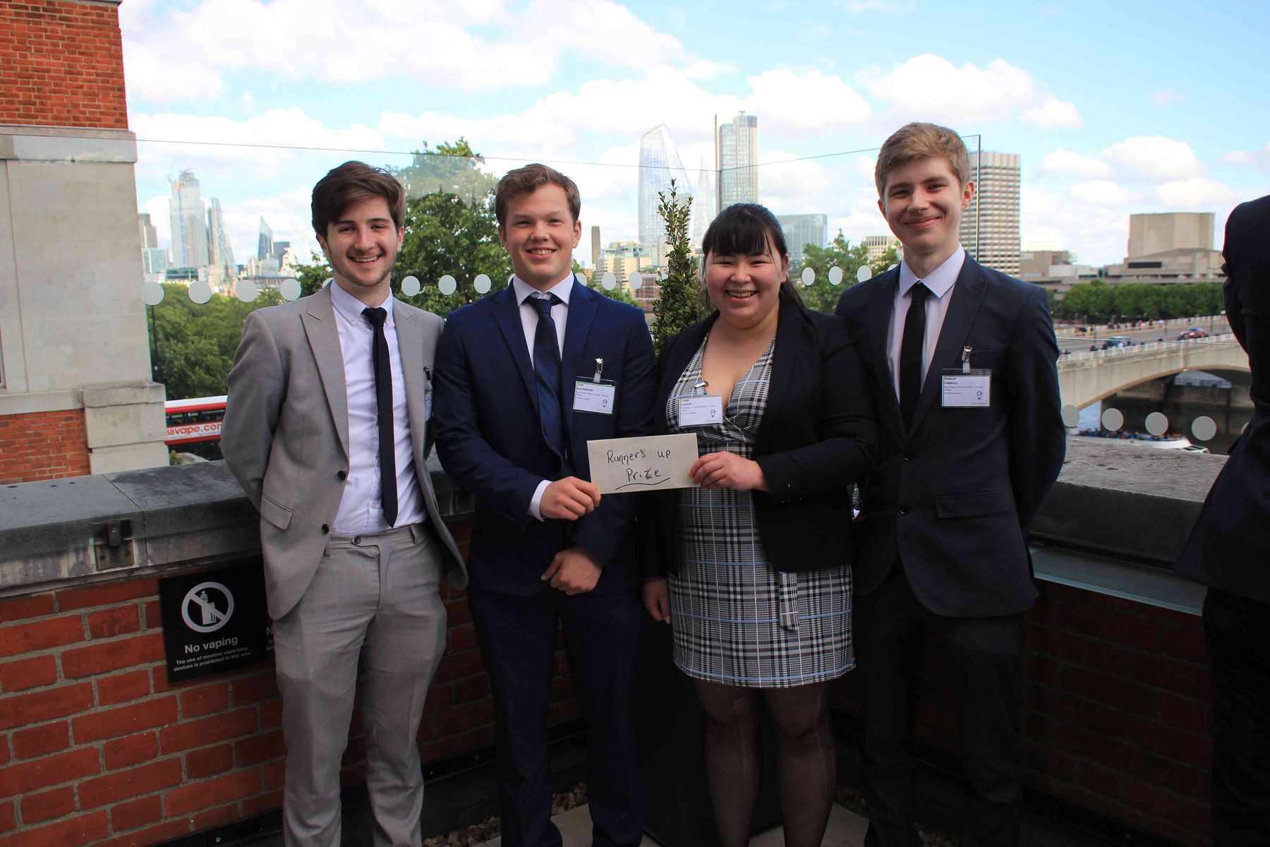 (L-R) Ashley Marlborough, Tyler Blackborough, Joanne Robinson, and Franklin Fairbrass at the Engineering Without Borders competition in London