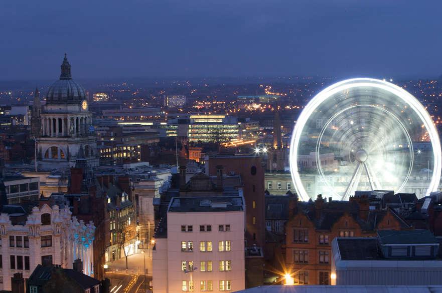 Nottingham skyline at night