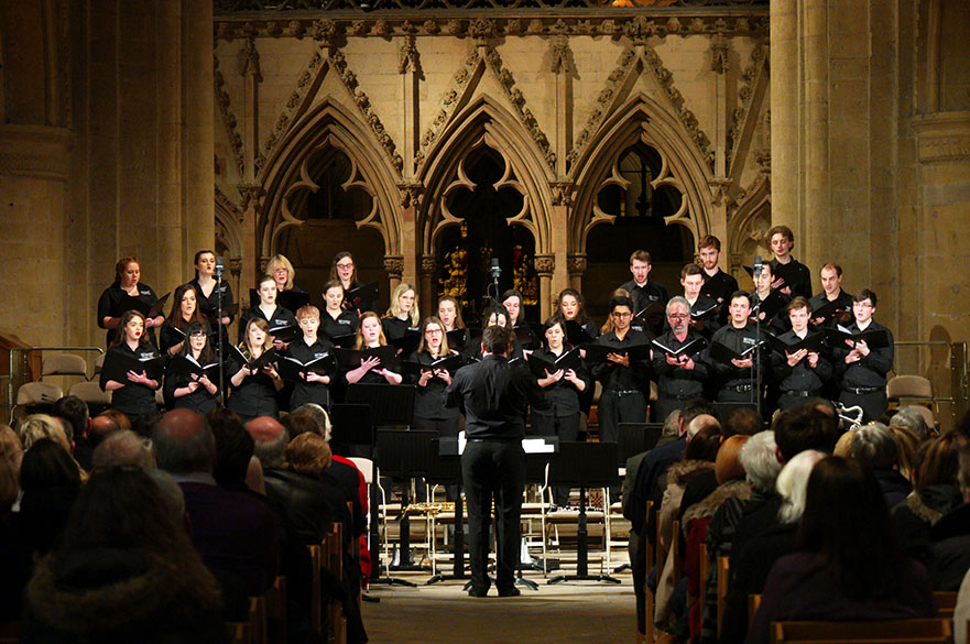 The NTU Chamber Choir singing in Southwell Minster.
