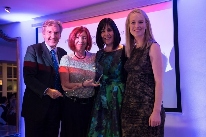 NCTJ chairman Kim Fletcher, Head of CBJ Carole Fleming, Journalism course leader Tracy Powell, Awards host Sophy Ridge, Sky News presenter