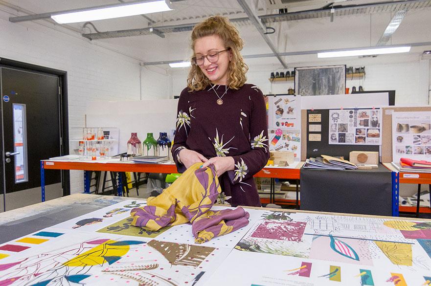 Runner-up Esmee Watts in the Decorative Arts studios
