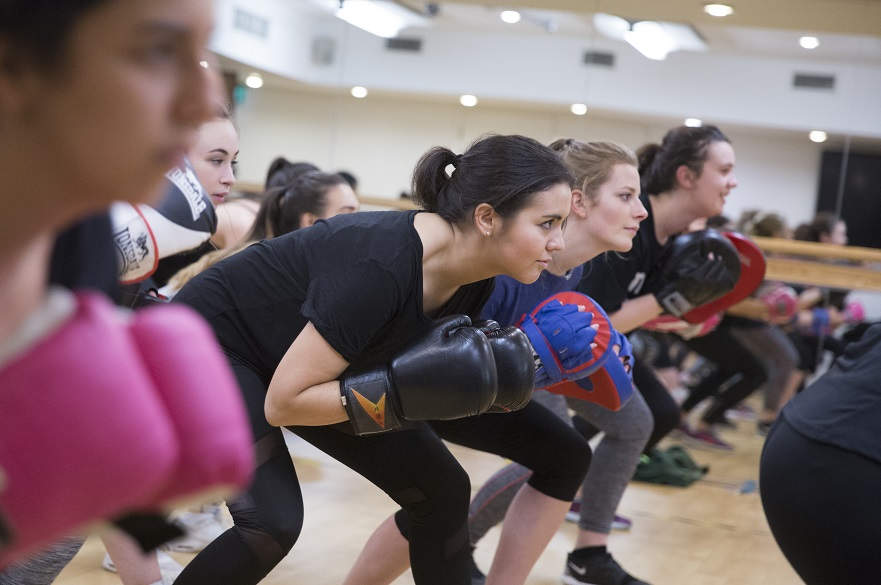 females in fitness boxing class