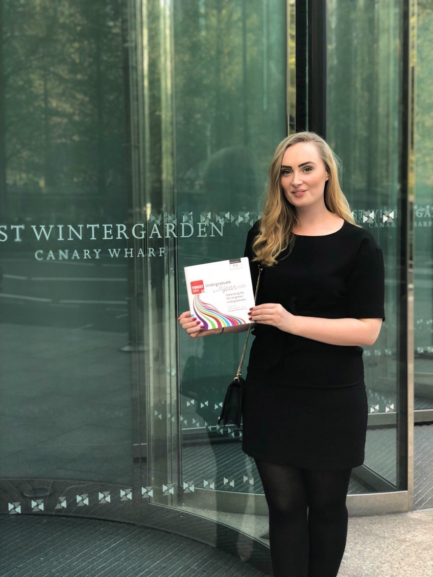 Bella pictured at the TARGETJobs Undergraduate of the Year Awards
