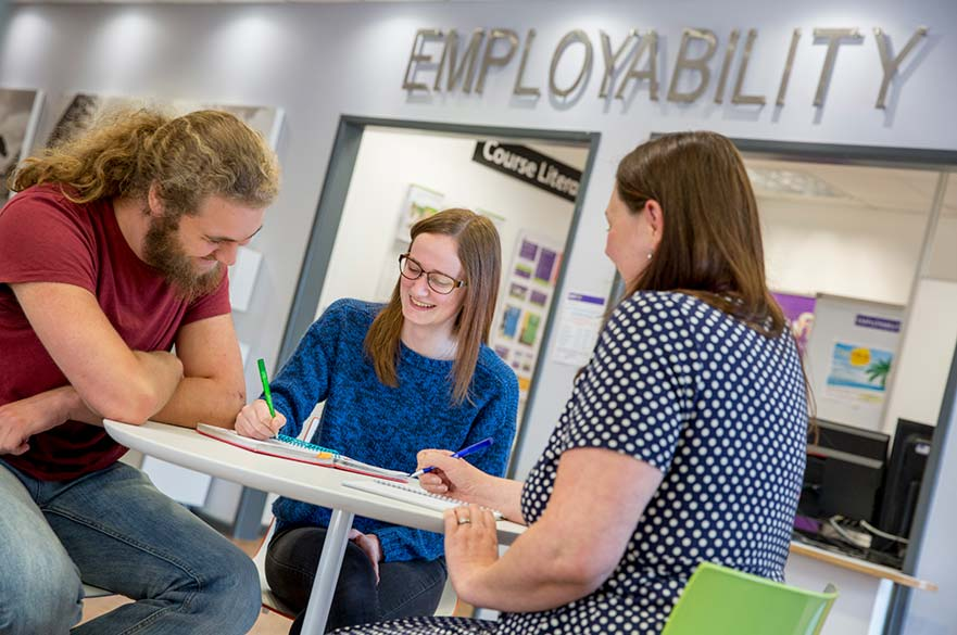 students meeting with employability staff
