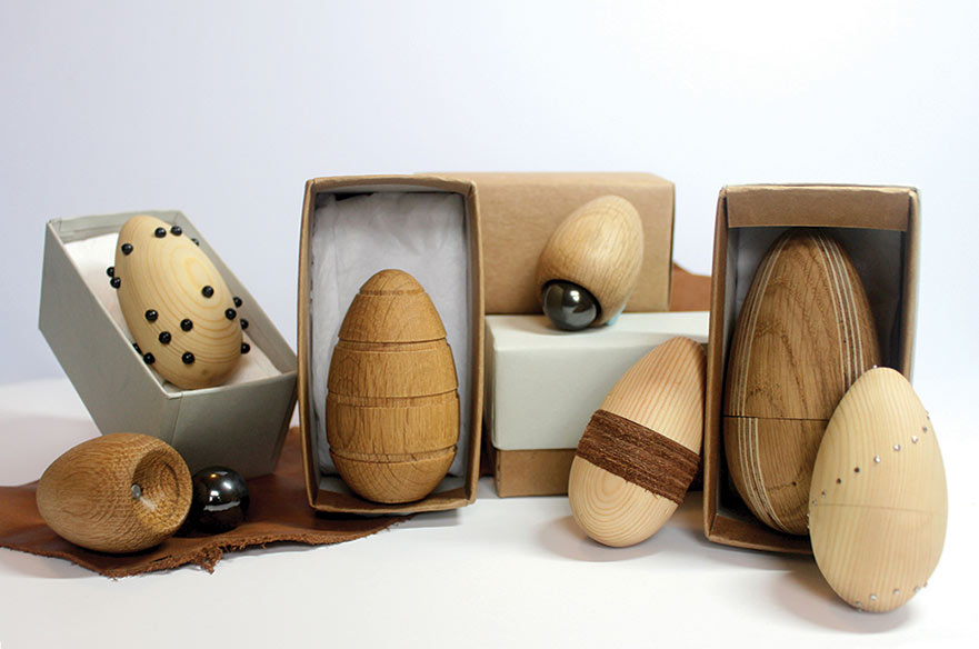 Palm - work by Adam Seeley. A collection of stress eggs, individually designed to incorporate existing coping mechanisms.