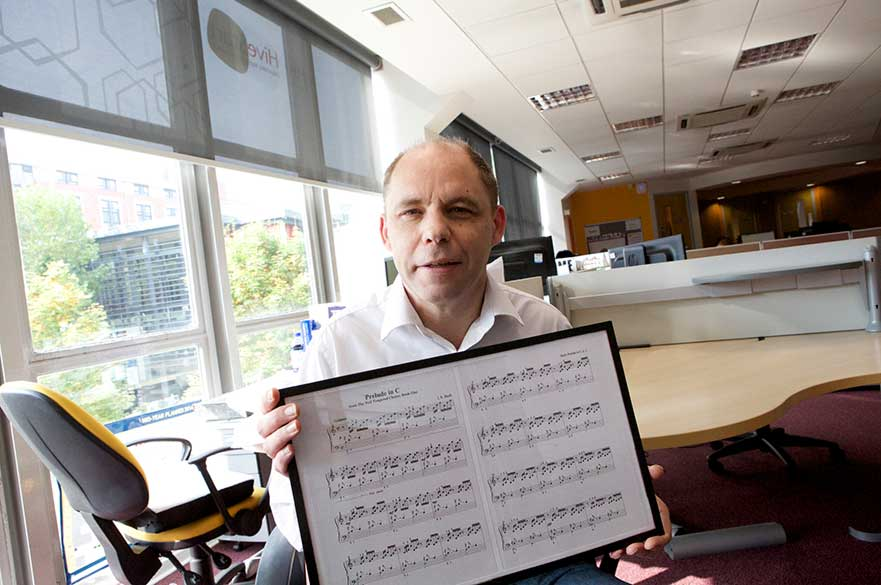 Martin Smith at the hive demonstrating his sheet music reader app