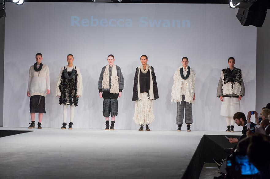 Rebecca Swann's knitwear collection modelled at Graduate Fashion Week