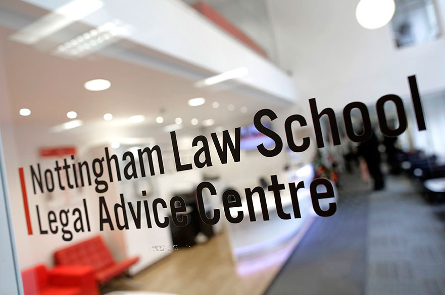 Entrance to the Legal Advice Centre at Nottingham Law School