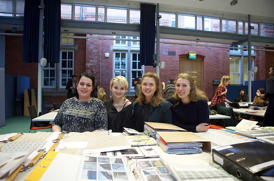Textile and Furniture Design students with some of their winning project work
