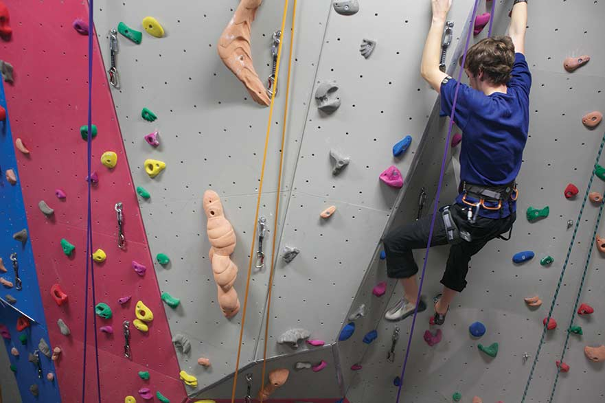 climbing wall, city campus
