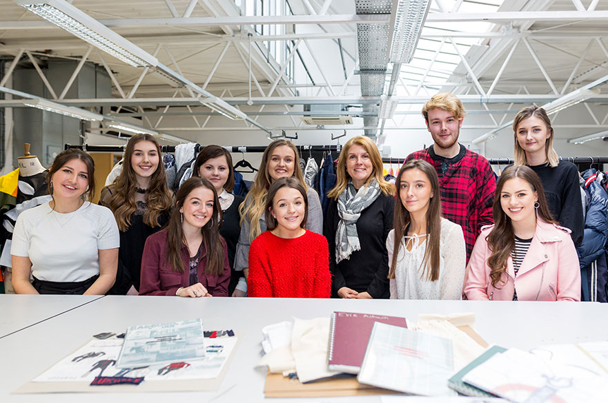 Year 2 Fashion Design students with Linda Leaver