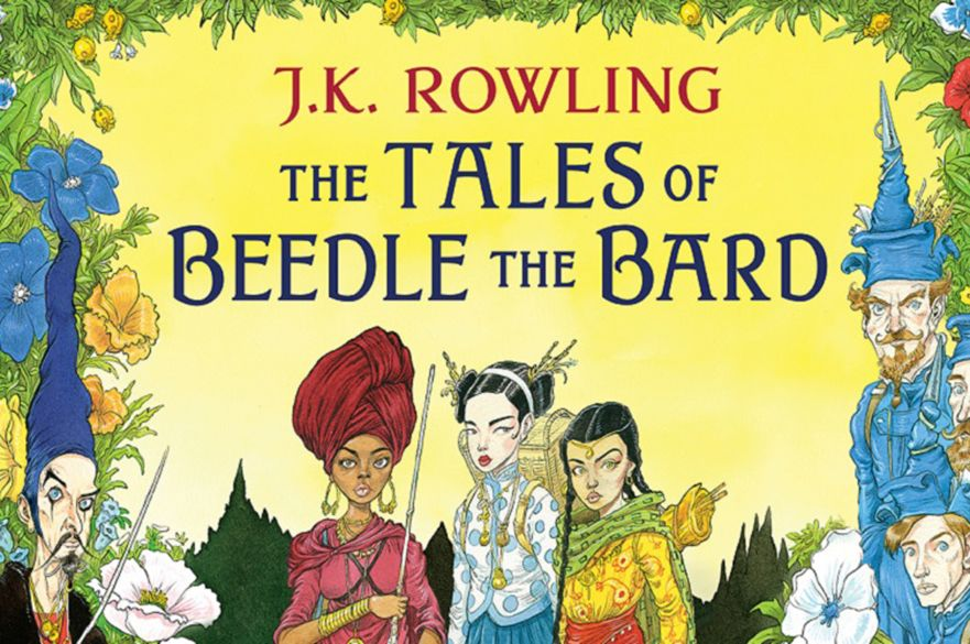 The Tales of Beedle the Bard book cover with Chris Riddell's illustrations.