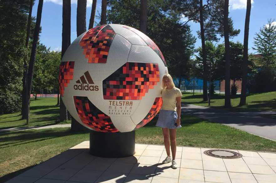 Fran outside the adidas headquarters in  Herzogenaurach, Germany
