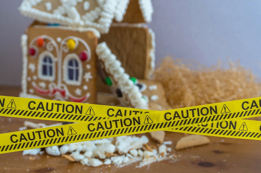 Gingerbread house with caution tape