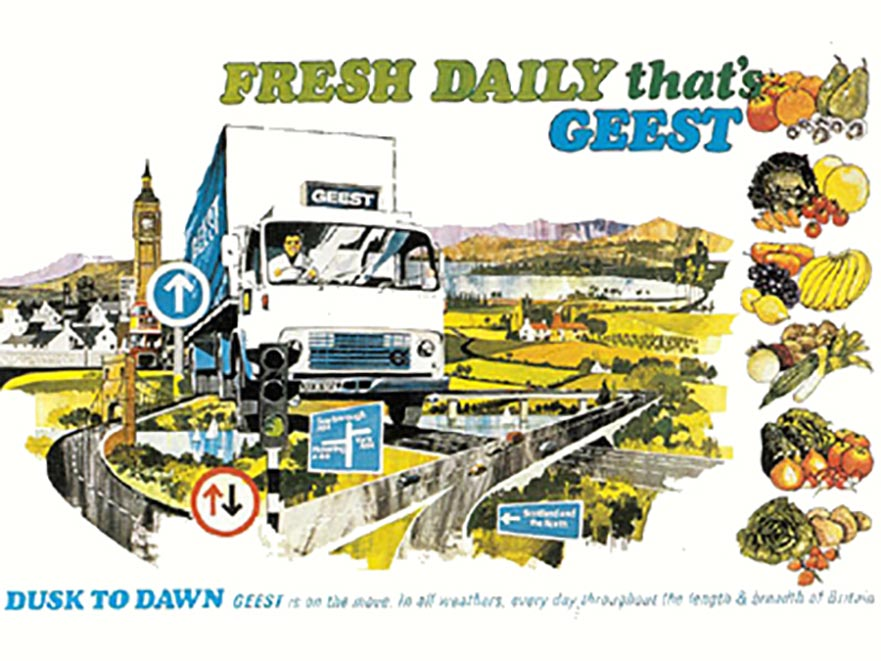 An advertisment for Geest fresh produce