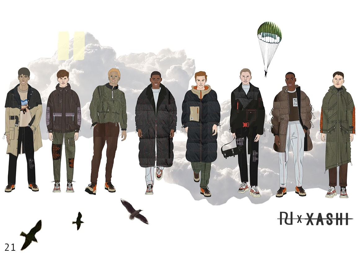 Fashion illustrations - a line up of garments for the River Island Project