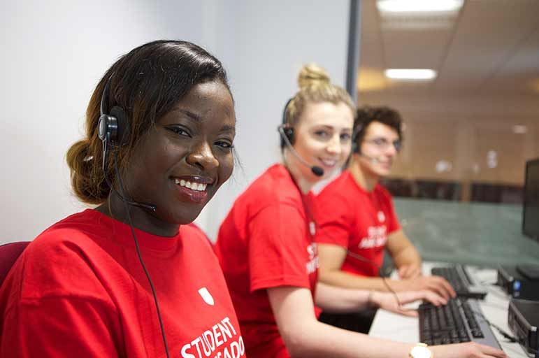 student ambassadors clearing phone campaign