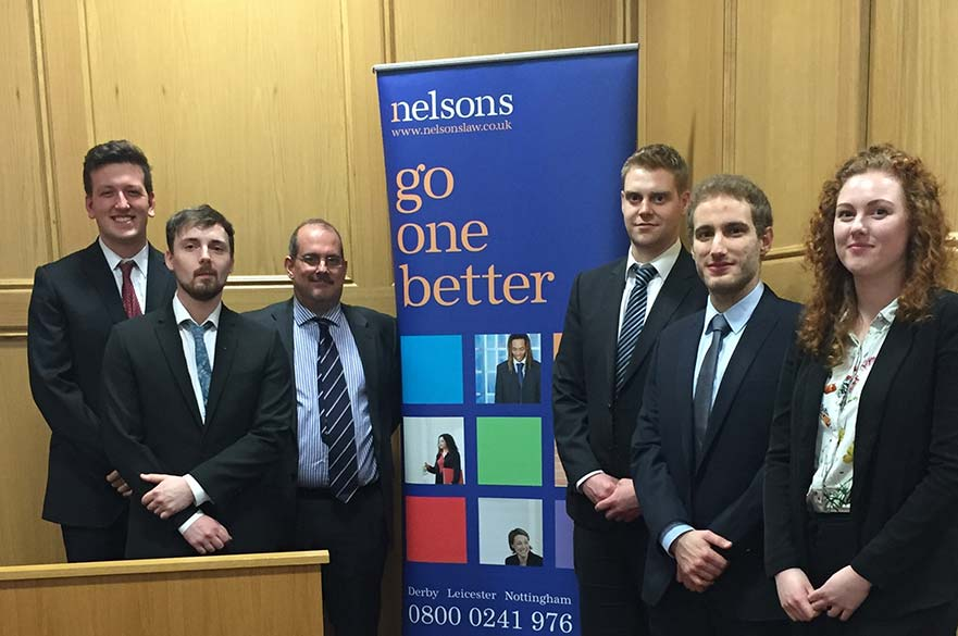 Jon Roberts and Simon Key (Nelsons) with the GDL mooting 2016 finalists Charlie Lea, Lewis Troughton, Jon Roberts, Simon Key, Panos Panayiotopoulos and Rhona Scullion