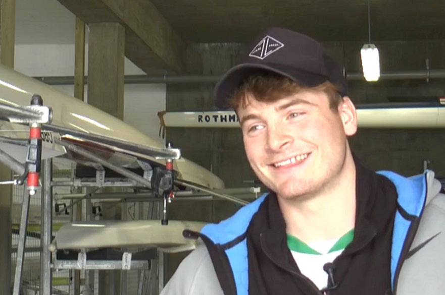 George Trimmer speaking to Trent TV at the National Water Sports Centre