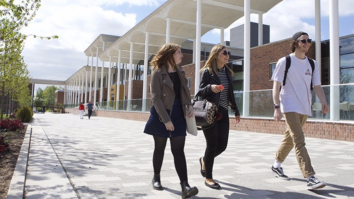 Students walking past the Pavilion