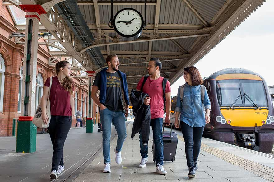 Students at Nottingham Station
