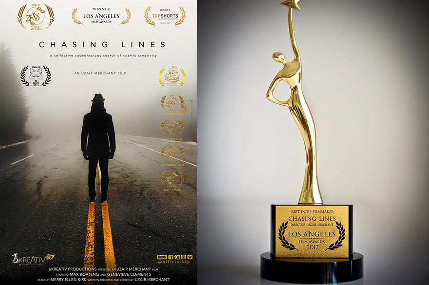 Film poster and LA film award trophy
