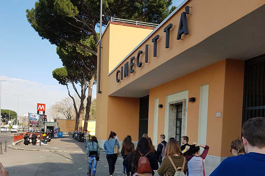 Our students outside Cinecittà studios. Photo Frances Pulford.
