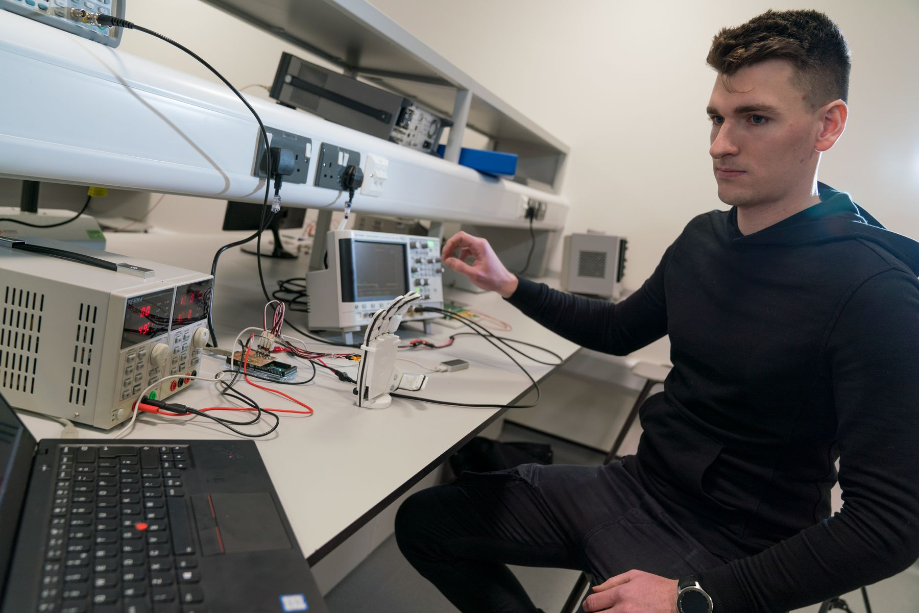 Engineering student in Electronics lab