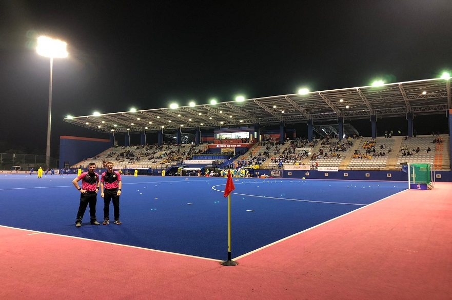 NTU Student Harry Collinson hockey umpire pitch side