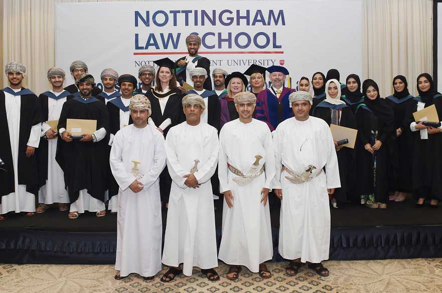 Graduates with representatives from Nottingham Law School and the Ministry of Justice in Oman