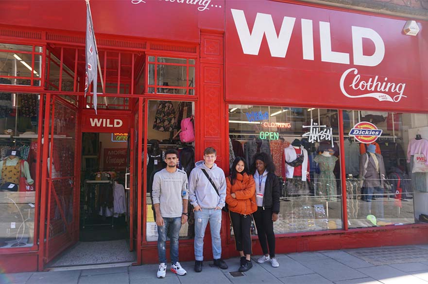 NBS students outside Wild Clothing in Nottingham