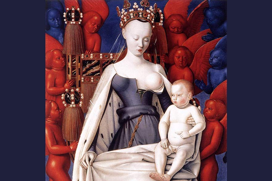 A 13th century portrait by Jean Fouquet, showing the Madonna with her breast exposed and the baby Jesus on her lap