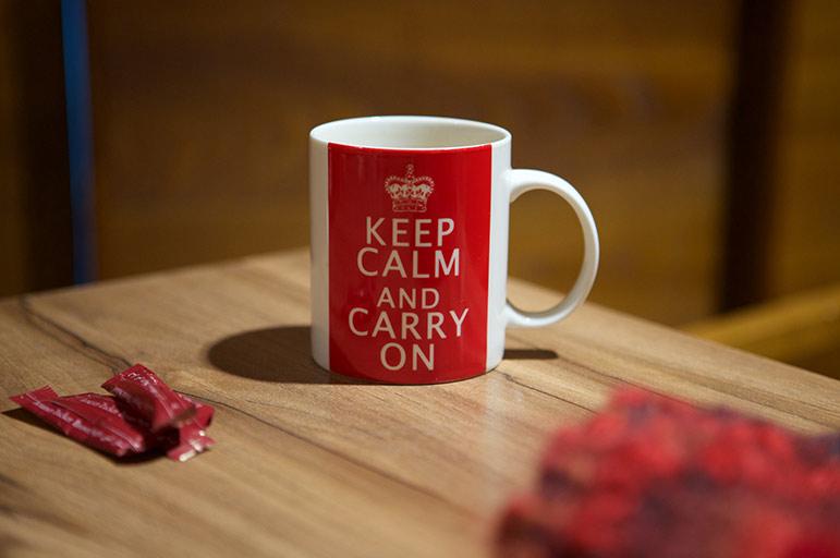 mug with 'Keep calm and carry on' on it