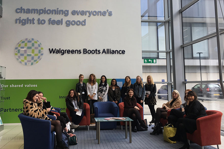 Fashion Marketing and Branding students at the Boots head offices