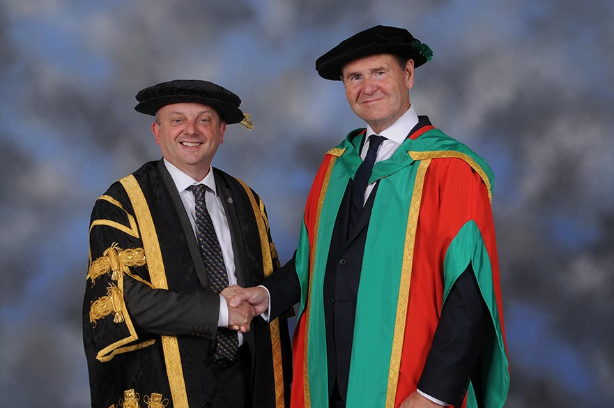 Professor Edward Peck, Vice-Chancellor with Sir John Peace