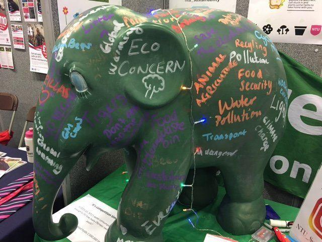 Green elephant with eco concerns written on it