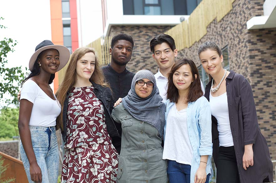 Students outside halls of residence