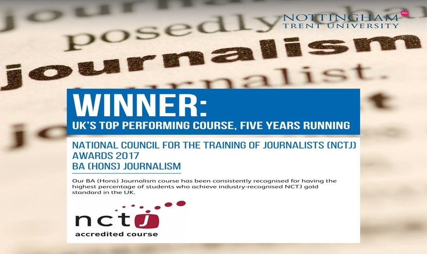 Journalism has won Best Undergraduate Degree at the NCTJ Awards for the fifth time