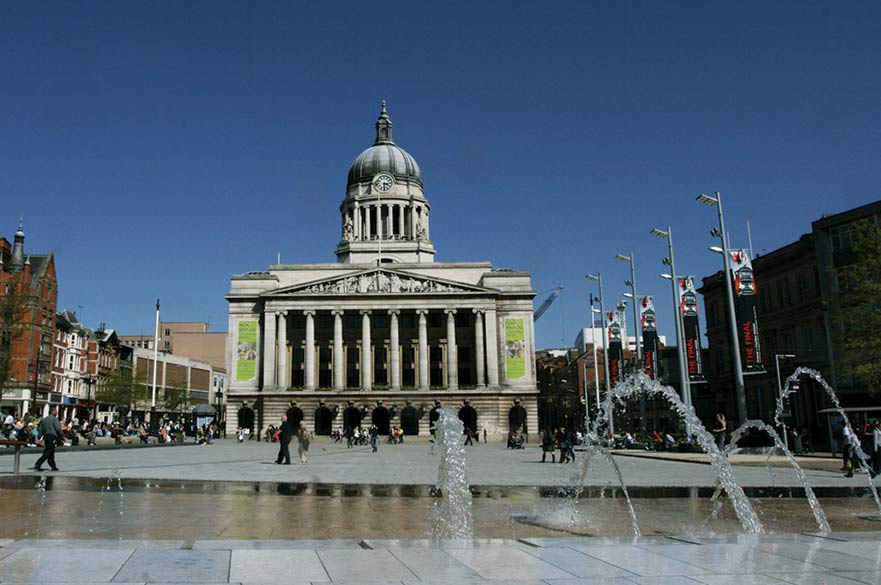 View of Council House from behind the founntains in Nottingham's Old Market Square
