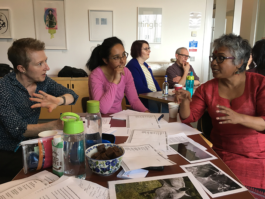 Kalyani (Right), discussing translation with guests at the Nottingham Contemporary 'Translating Activism' workshop