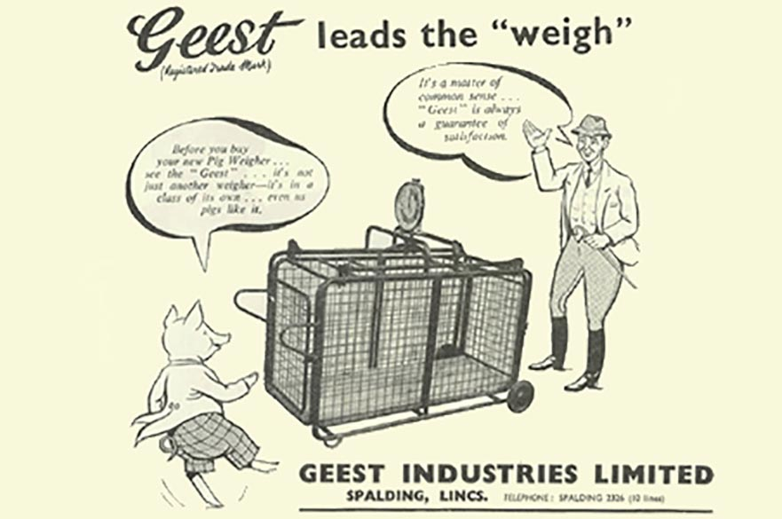 A magazine advertisment for a Geest pig-weighing machine